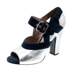 Miu Miu Metallic Silver Leather And Blue  Mary Jane Peep Toe Pumps Size 38.5