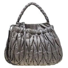 Miu Miu Metallic Silver Matelasse Leather Hobo