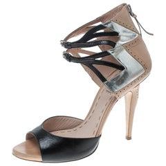Miu Miu Multicolor Leather Open Toe Ankle Wrap Sandals Size 40
