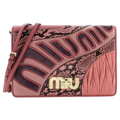 Miu Miu My Logo Shoulder Bag Patchwork Leather and Python Small