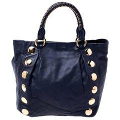 Miu Miu Navy Blue Leather Studded Satchel