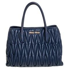 Miu Miu Navy Blue Matelassé Leather Snap Tote