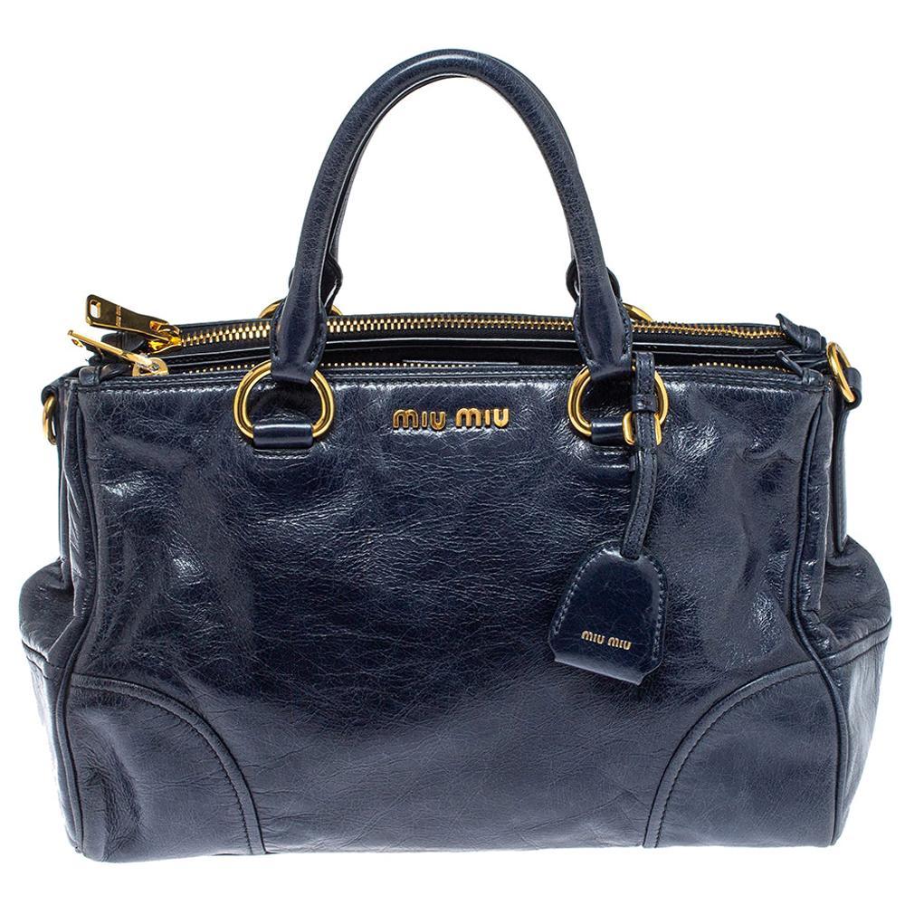 Miu Miu Navy Blue Vitello Shine Leather Double Zip Tote