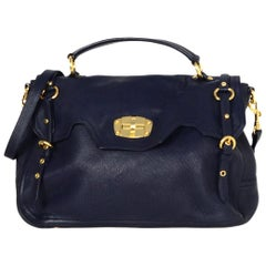 Miu Miu Navy Cervo Leather Large East/West Patina Buckle Satchel Messenger Bag