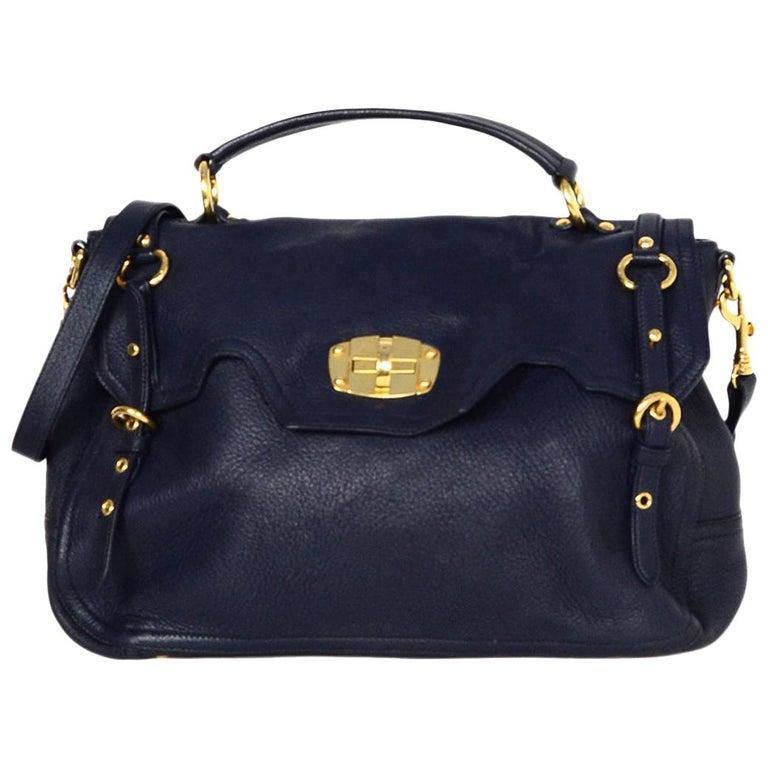 4687def27e2bd Miu Miu Navy Cervo Leather Large East/West Patina Buckle Satchel Messenger  Bag For Sale