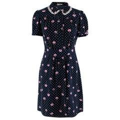Miu Miu Navy Silk Floral Print Shirt Dress 36