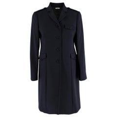 Miu Miu Navy Wool Military Single Breasted Coat  US4