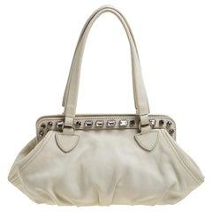 Miu Miu Off White Leather Crystal Embellished Satchel