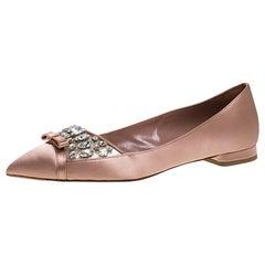 Miu Miu Old Rose Pink Satin Jeweled Pointed Toe Ballet Flats Size 37