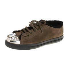 Miu Miu Olive Green Suede And Shearling Studded Cap Toe Sneakers Size 38
