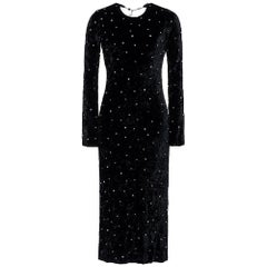 Miu Miu Open Back Crystal Embellished Crushed Black Velvet Midi Dress IT38 US 2
