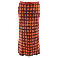 Miu Miu Orange Check Wool Pencil Skirt XS 40