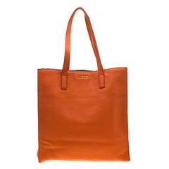 Miu Miu Orange Vitello Diano Leather Shopper Tote