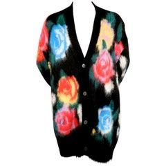 MIU MIU oversized floral mohair cardigan - new