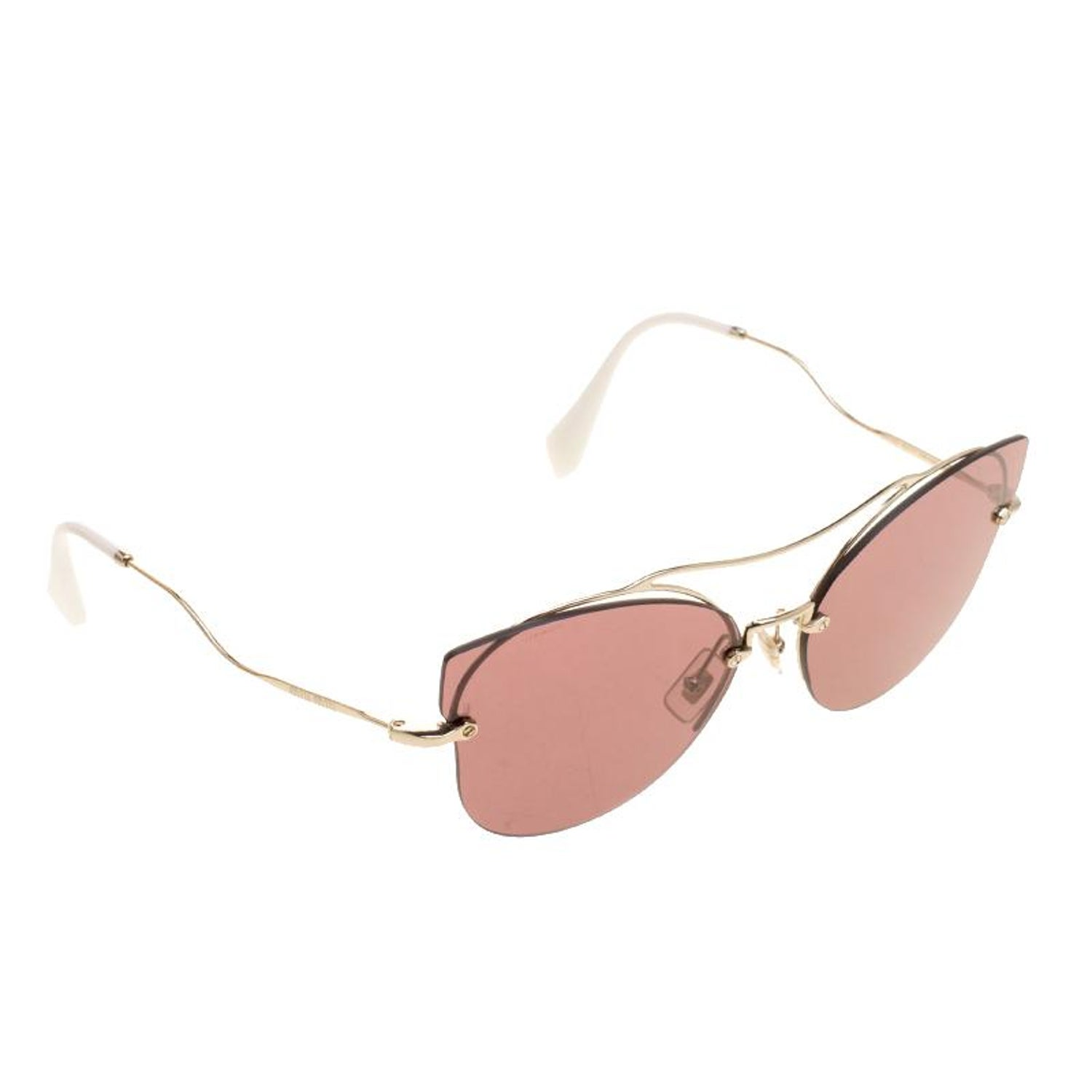 9f63cb8fd76 Miu Miu Pale Gold Violet SMU52S Aviator Sunglasses For Sale at 1stdibs