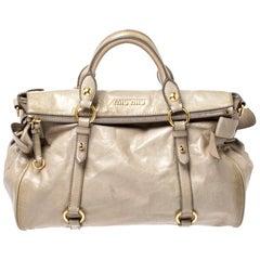Miu Miu Pale Green Glazed Leather Bow Top Handle Bag