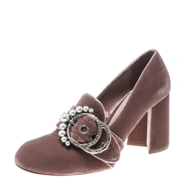 9464b7e72 Miu Miu Pale Pink Velvet Pearl Embellished Buckle Block Heel Loafer Pumps  Size 3 For Sale. Get set to make heads turn and grab all the attention with  these ...