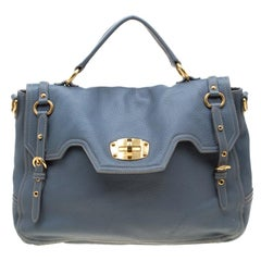 Miu Miu Pastel Blue Leather Turnlock Top Handle Bag