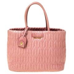 Miu Miu Pastel Pink Matelasse Leather Bow Tote