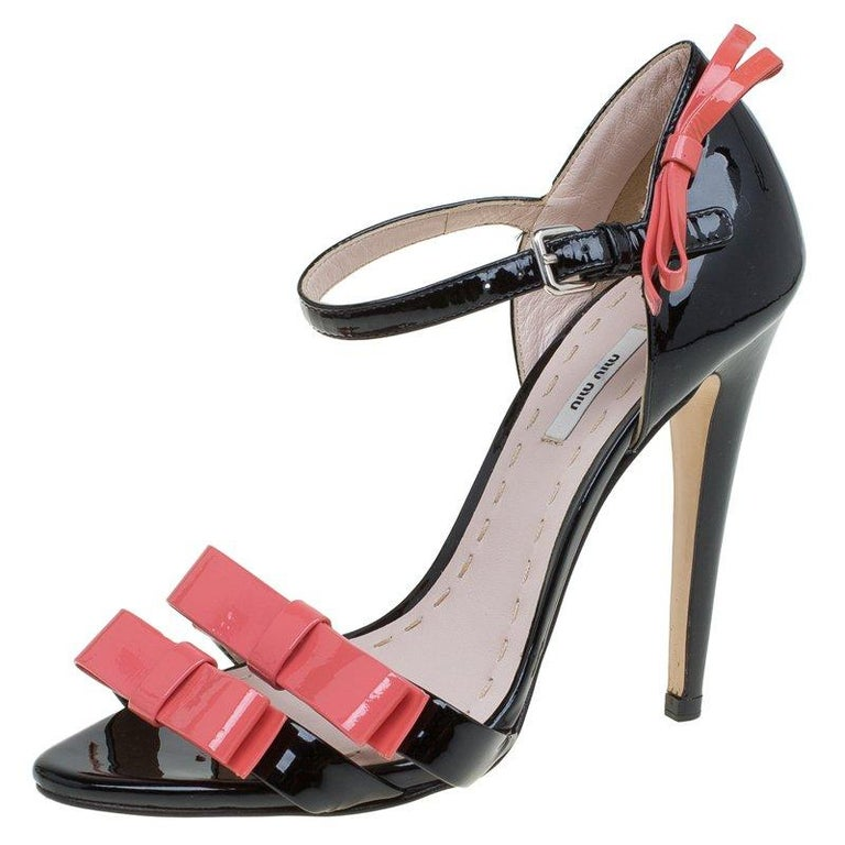 ab59e1b24f88 Miu Miu Pink and Black Patent Bow Mary Jane Sandals Size 36 For Sale ...