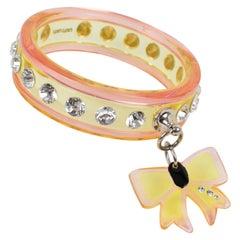 Miu Miu Pink and yellow Acrylic Bracelet Bangle with Bow Charm