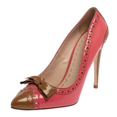 Miu Miu Pink/Brown Patent Leather Bow Pointed Toe Pumps Size 39.5