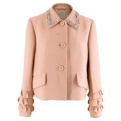 Miu Miu Pink Crystal Embellished Ruffle Hem Jacket S 42