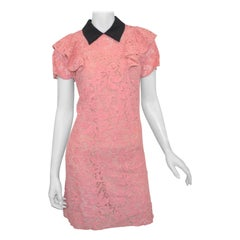 Miu Miu Pink Lace Collared Dress