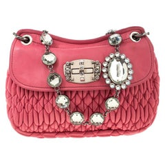 Miu Miu Pink Matelassé Leather Crystal Flap Shoulder Bag