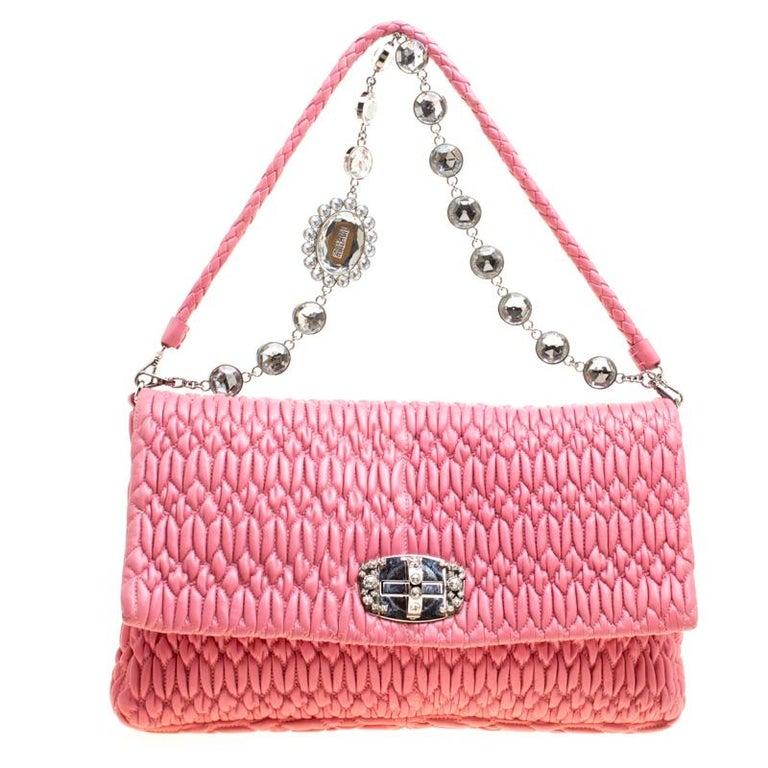 Miu Miu Pink Matelasse Nappa Leather Crystal Shoulder Bag For Sale ... deafd72020c43