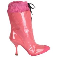 MIU MIU pink patent leather RAIN Boots Shoes 36