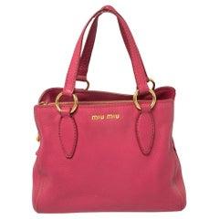 Miu Miu Pink Pebbled Leather Middle Zip Satchel