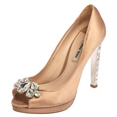 Miu Miu Pink Satin Crystal Embellished Heel Peep Toe Platform Pumps Size 37