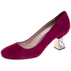 Miu Miu Pink Suede Crystal Embellished Heel Pumps Size 36.5