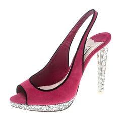 Miu Miu Pink Suede Crystal Heel Gliiter Peep Toe Slingback Sandals Size 37.5