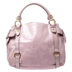 Miu Miu Pink Vitello Lux Leather Bow Satchel