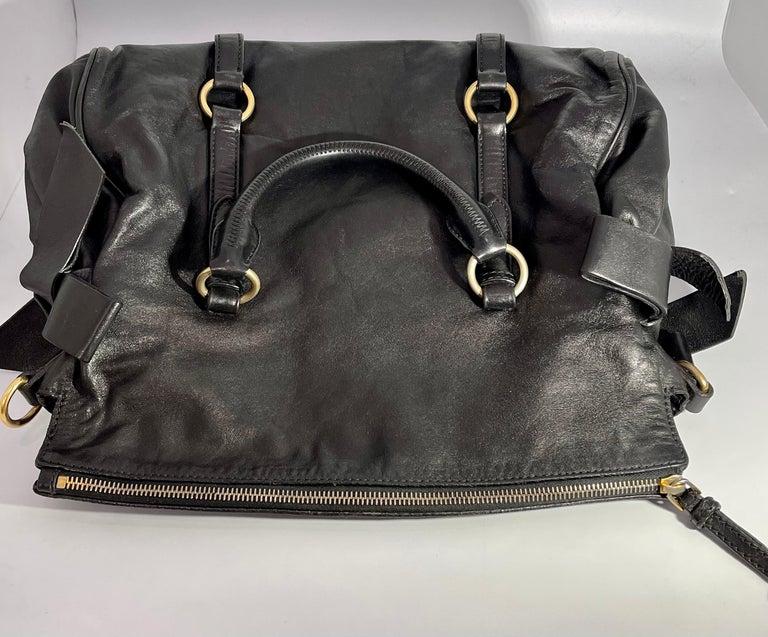 Miu Miu Prada Bow Vitello Lux Medium Calfskin Leather Satchel, Black, Bow bag For Sale 8