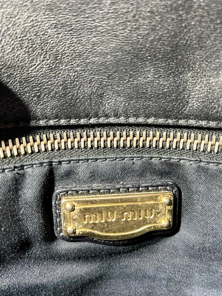 Miu Miu Prada Bow Vitello Lux Medium Calfskin Leather Satchel, Black, Bow bag For Sale 9