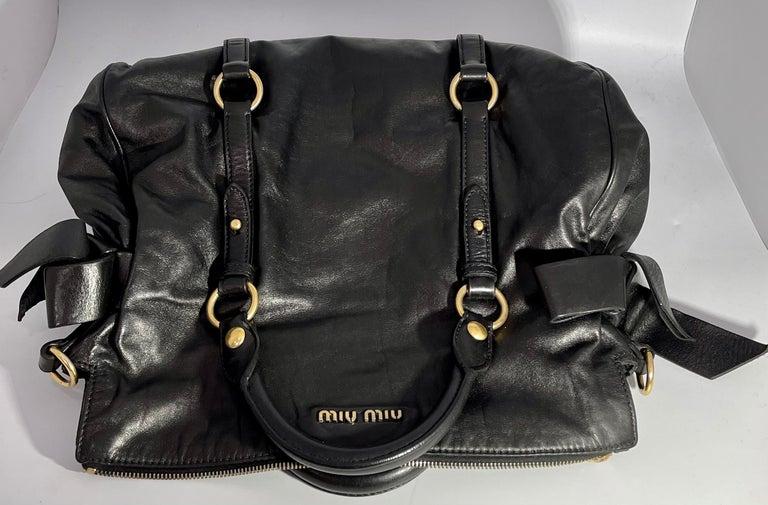 Miu Miu Prada Bow Vitello Lux Medium Calfskin Leather Satchel, Black, Bow bag For Sale 11