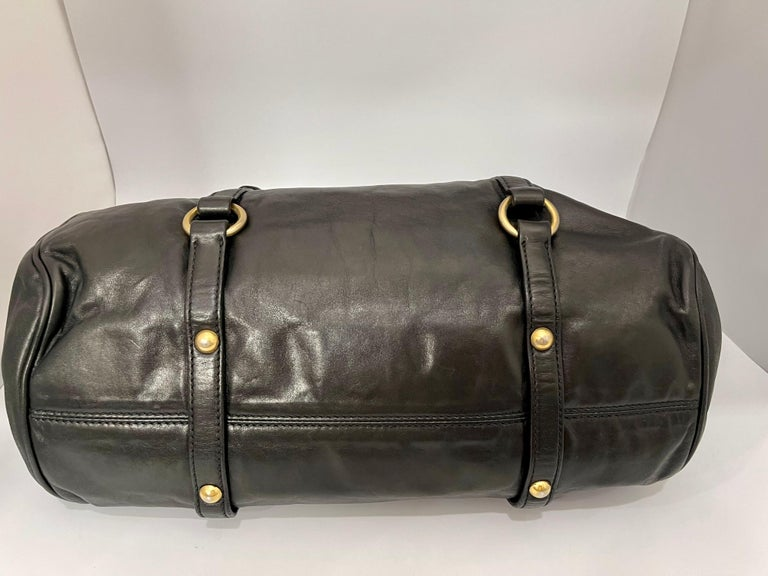 Women's Miu Miu Prada Bow Vitello Lux Medium Calfskin Leather Satchel, Black, Bow bag For Sale