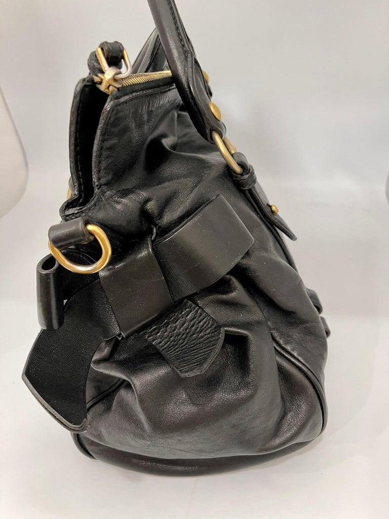Miu Miu Prada Bow Vitello Lux Medium Calfskin Leather Satchel, Black, Bow bag For Sale 1