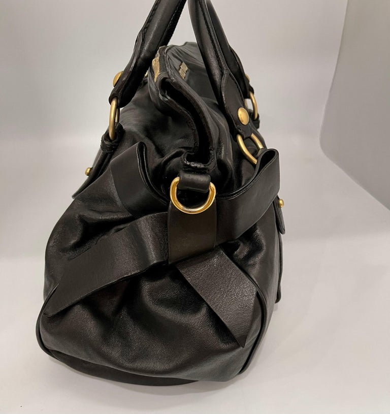 Miu Miu Prada Bow Vitello Lux Medium Calfskin Leather Satchel, Black, Bow bag For Sale 2