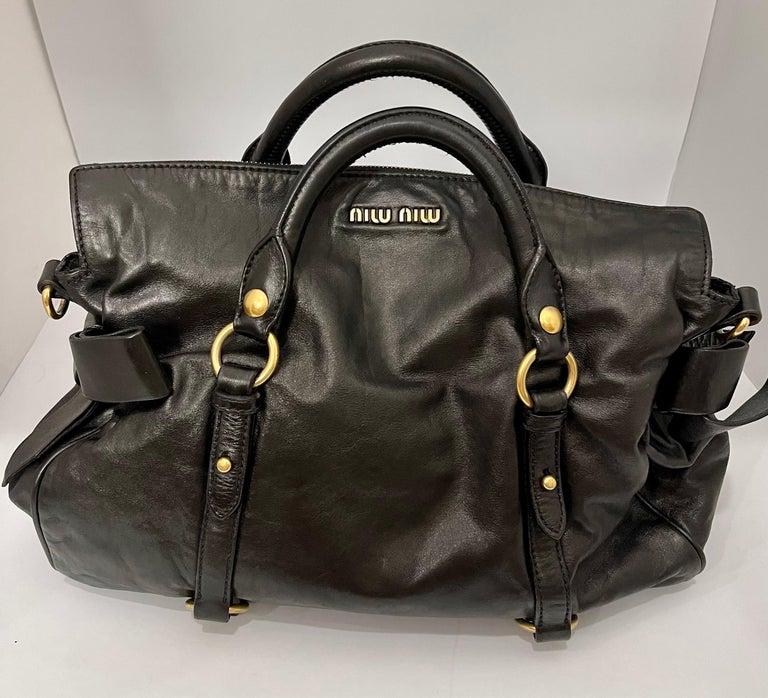 Miu Miu Prada Bow Vitello Lux Medium Calfskin Leather Satchel, Black, Bow bag For Sale 3