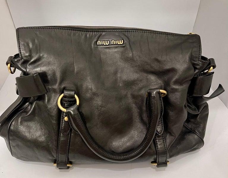 Miu Miu Prada Bow Vitello Lux Medium Calfskin Leather Satchel, Black, Bow bag For Sale 4
