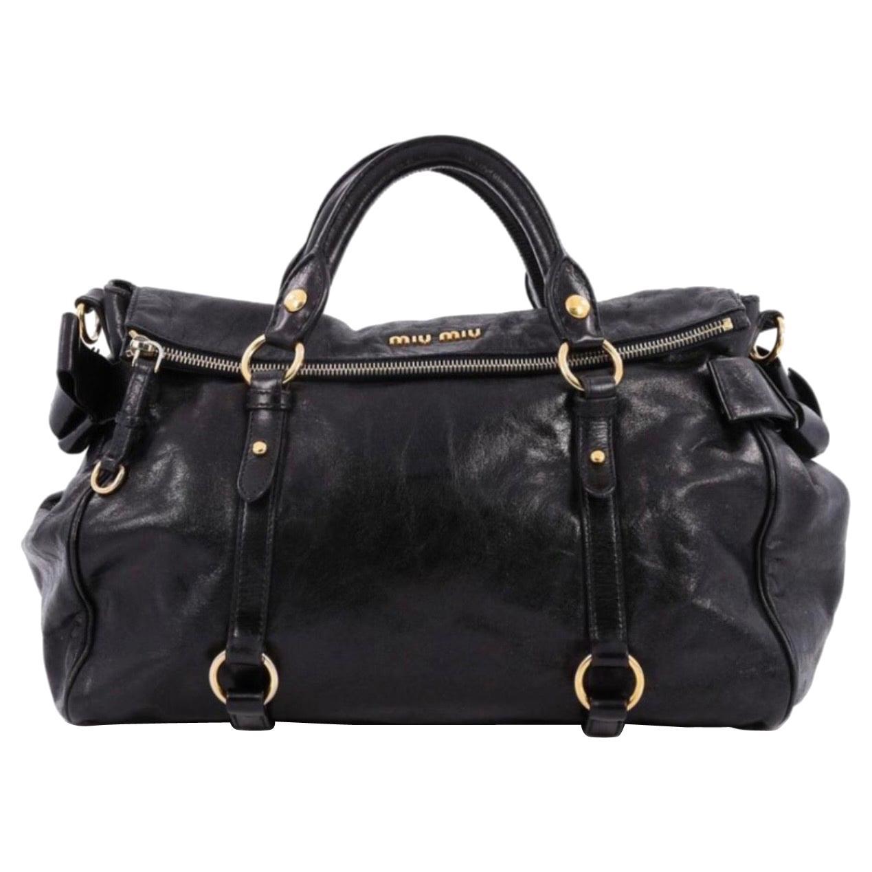 Miu Miu Prada Bow Vitello Lux Medium Calfskin Leather Satchel, Black, Bow bag