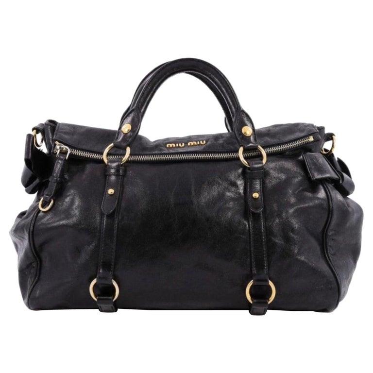 Miu Miu Prada Bow Vitello Lux Medium Calfskin Leather Satchel, Black, Bow bag For Sale
