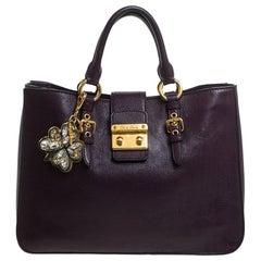 Miu Miu Purple Leather Large Madras Tote