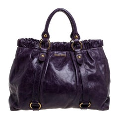 Miu Miu Purple Leather Large Ruched Tote