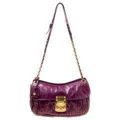 Miu Miu Purple Matelasse Leather Shoulder Bag