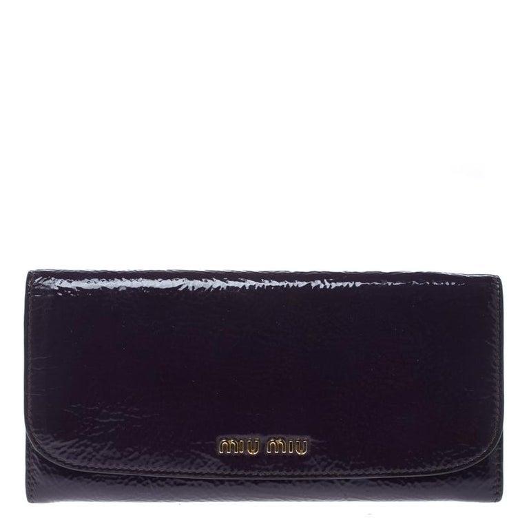 7edd6f78e17 ... Small Accessories. Miu Miu Purple Patent Leather Continental Wallet For  Sale